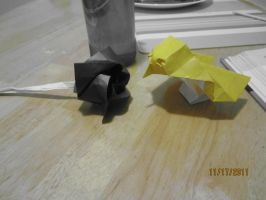 My origami sparrow and rose (colour effect!) by Odolwa5432
