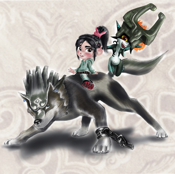 Vanellope with Wolf Link and Midna by artistsncoffeeshops