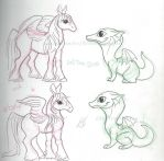 Baby Pegasus and Dragon Sketches by LiHy