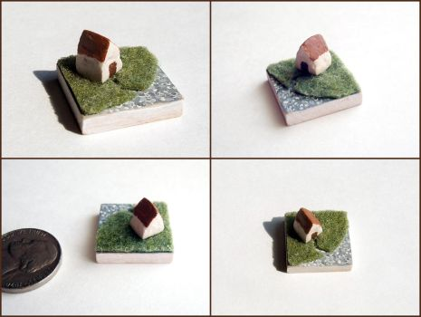 Tiny Rustic Cottage Scene by ldhenson