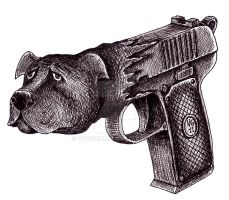 Pit Bull Gun surreal black and white pen ink art by Vitogoni