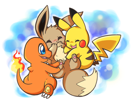 Double team... poor Eevee! by Lechensko