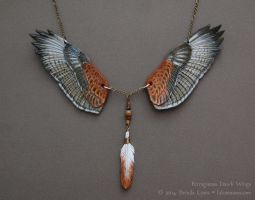 Ferruginous Hawk Wings - Leather Necklace by windfalcon