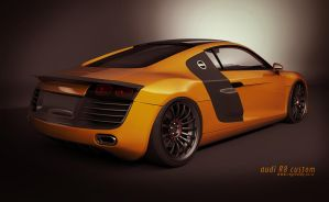 audi R8 orange back view by 3dmanipulasi