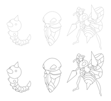 Weedle Evolutions Linearts by northstar2x