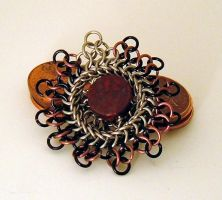 Red Jasper Kuchi Pendant by chainmaille