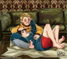 Jumper Cuddles in 221B by Mad-Hattie