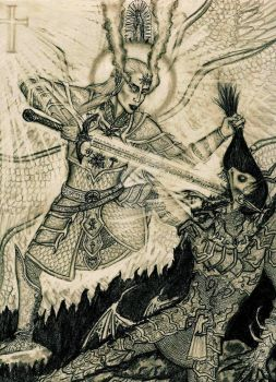 St. Michael defeats Lucifer by Theophilia