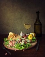 Still life with cheese and seafood by Daykiney