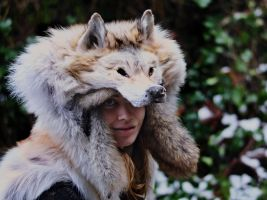 Red Arctic Wolf Headdress by NaturePunk