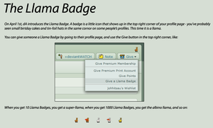 Llama Badges explanation by Bozack