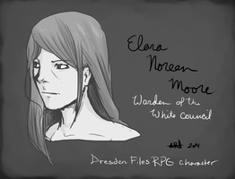 Elara Noreen Moore - Dresden Files RPG character by CrypticGrin