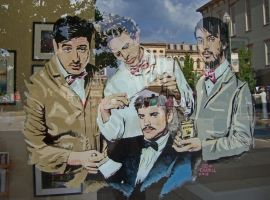 Mumford and Sons window painting by cottoncandysheep