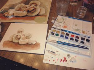 WIP Photo - Funghi - Watercolour Practise 03 by Ninelyn