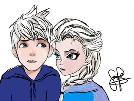 Jack Frost and Elsa ~ by sammi1098