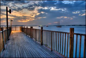 Changi boardwalk at evening by fizophoto