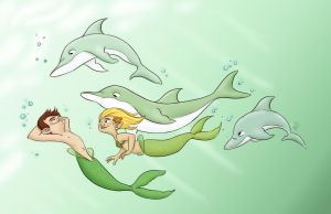 Dolphin Chase by Lelpel