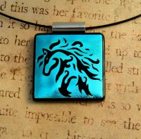 Zephyr Horse Fused Glass Pendant Redone by FusedElegance