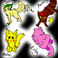 Nintendo cats by Sparkylovecupcakes