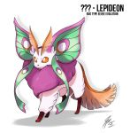Lepideon the bug Type Eeveelution by TamarinFrog