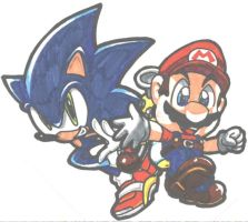 sonic and mario by enza
