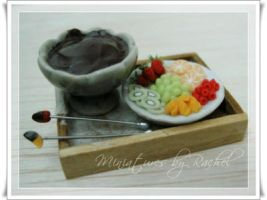 Miniature Chocolate Fondue by ToothFairyMiniatures