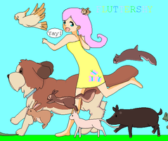 Fluttershy Running with Animals by SwoonStar