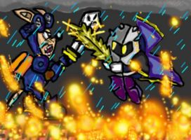 meta knight vs rocket knight by cobra10