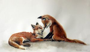 Foxes kissing. by louise-rabey