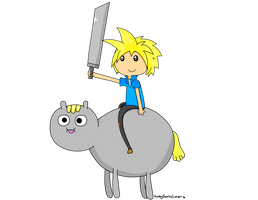Cloud and his Poo Brained Horse by FunkySockzLover