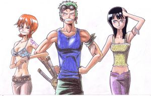 Nami, Zoro and Robin by sMokaForger