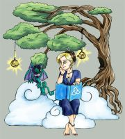Lady and Solumon in the Clouds by Lady-Mage