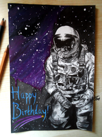 Space Man - Painting/Drawing by stardust12345