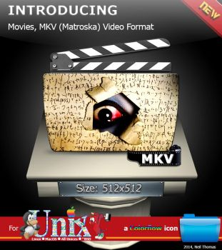 Movies, MKV format folder icon (Colorflow) by nt291263