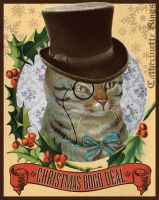 Steampunk Christmas Top Hat Cat by CatherinetteRings