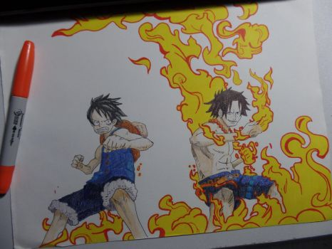 One piece - luffy and ace by dranki