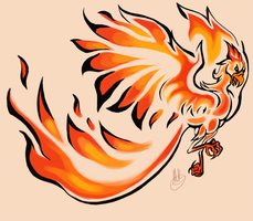 Phoenix tattoo design- commish by LittleMeesh