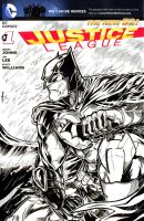 JL Batman Sketch Cover 3 Inks by ElvinHernandez