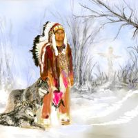 Indian and Wolves WIP 4 by Lynne-Abley-Burton