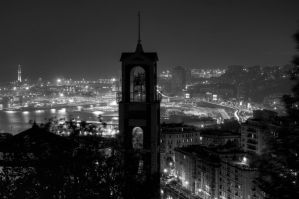 Genoa by Night 3 BW by AzeemElvehir