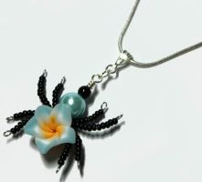Beaded Flower Spider PERFUME Pendant by Create-A-Pendant