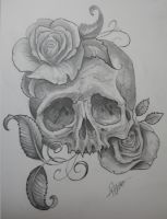 skull with roses by JWheelwrighttattoos