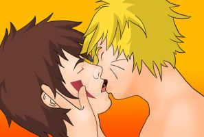 Naruto and Kiba Kiss by just-yaoi