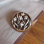 Wooden pinback button or pin badge Wild Flowers by v-vasilinka