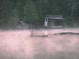 Boathouse in the Fog by VictorianSpectre