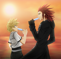 Axel and Roxas - Ice Cream X3 by LightSilverstar