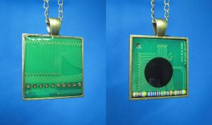 Circuit Board Pendants: Fax Machine by Llyzabeth
