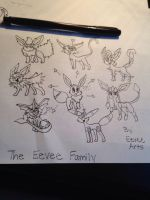 Eevee Fam Uncolored  by EeveeArts