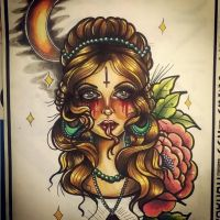 Ghost girl neotraditional tattoo design by MissMisfit13