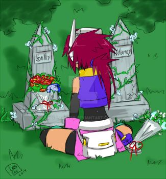 -Quick sketch- Lady at  two graves by Lady2011